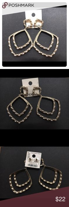 Arden B Gold Rhinestone Statement Earrings These Large Gold and Rhinestone earrings will make a statement with any outfit! Never worn. Tag attached! Arden B Jewelry Earrings