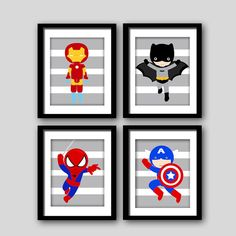 PICK 6 superhero wall PRINTS Super hero wall by AmysSimpleDesigns