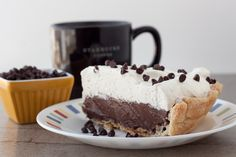 Chocolate Cream Pie from scratch. No pudding mix. No pre-made crust. Just delicious chocolate custard topped with fresh whipped cream.