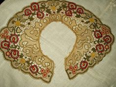 Antique Vintage Edwardian 1920's Dress Collar Needle lace Multi-Colored