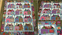 beautiful house quilts   The Kaffe Fasset houses quilt is just ready to be quilted...