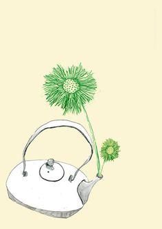 Tea pot. From 'Tea for Joy' #tea #teapots #dandelions #flowers