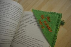 Trying to pass the time I made this bookmark. It's made with different coloured pieces of felt cut into a right-angled triangle, then sewn t. Drink Sleeves, Triangle, Spices, Embroidery, Sewing, Tableware, Crafts, Needlework, Needlepoint