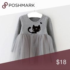 Just Arrived!  Kitty Cat Baby Tutu Dress  Gray long-sleeved toddler dress with tutu skirt and cute kitty cat on top.  Brand new, boutique item! Boutique Dresses Casual