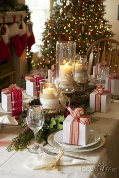 Christmas Tablescape ~ GV: Naughty or Nice Holiday Gift Wrapping Party (then have fun for Ladies Nite Out! Christmas Table Settings, Christmas Tablescapes, Christmas Table Decorations, Holiday Tablescape, Christmas Candles, Christmas Dining Table, Dinner Table Settings, Christmas Place Setting, Xmas Table Decorations
