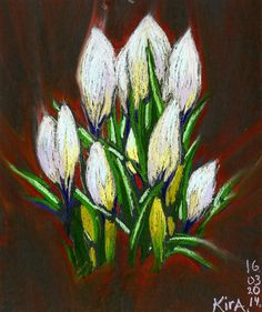 Thoughts and Artworks by Kira Culufin Different Media, Pastel Drawing, Colored Pencils, Flower Art, Pastels, Tulips, Watercolour, Artworks, Mixed Media
