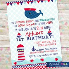 Little Squirt Whale Nautical Red and Navy Anchor Invitation with Whale Boy Sailboat Invitation on Etsy, $13.00