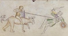 Sarazene mit Buckler (oder Rundschild?), BL Royal 2 B VII Queen Mary Psalter, fol. 55v, 1310-1320, London.