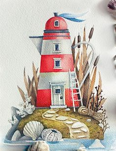 Watercolor Illustration, Watercolour Painting, Painting & Drawing, Lighthouse Art, Guache, Marker Art, Surreal Art, Cute Drawings, Painting Inspiration