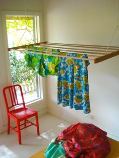Our clothes drying rack - dry clothes without electricity in all weather, sailing quality pulleys and cord to hoist to the ceiling. Made from plantation sugar-gum, Distributed in kit form.