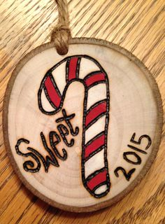 Rustic Candy cane wood burned Christmas ornament - natural wood