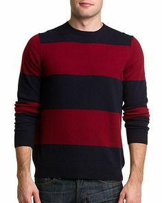 Cullen Navy & Garnet Rugby Stripe Cashmere Sweater