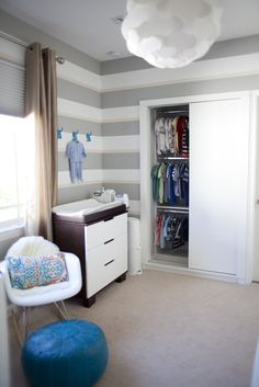 Baby nursery love the closet!