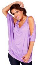 Scooped Oversized Bare-Shoulder Relaxed Draped Dolman Sleeve Tunic Top