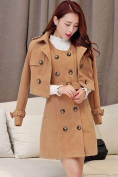 Thermal Solid Sleeveless Dress Jacket Wool Matching Set
