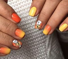 Dashing Yellow And Orange Nail With #Butterfly #summernails2018 #summernails