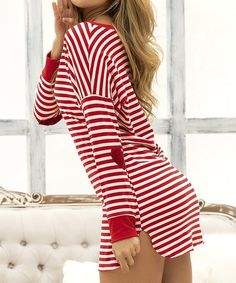 Make bedtime festive with this ultrasoft long-sleeved sleep dress that features red and white stripes and velvety elbow patches. Colombia South America, Sleep Dress, India And Pakistan, Red And White Stripes, Kazakhstan, Pajamas Women, Ukraine, Bodycon Dress, Long Sleeve