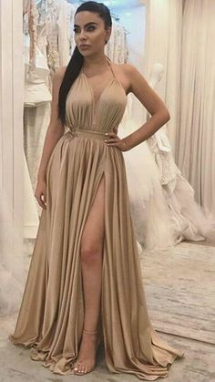 Sexy Halter Backless Long Prom Dresses, With Split Side Evening Dresses,Long Prom Dress Party Dresses Gorgeous Prom Dresses, V Neck Prom Dresses, Prom Dresses 2018, Cheap Prom Dresses, Sexy Dresses, Formal Dresses, Wedding Dresses, Dress Prom, Dress Long