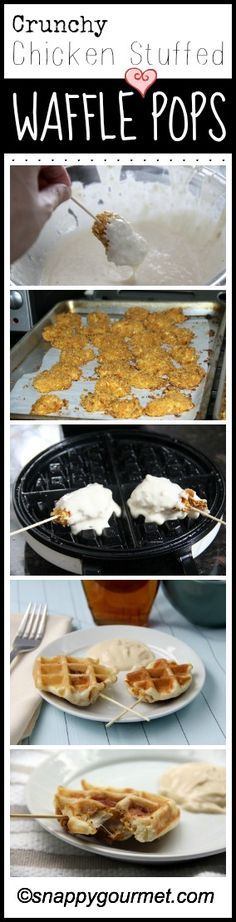 Crunchy Chicken Stuffed Waffle Pops & Maple Dijon Dip - fun party food, snack, or appetizer! snappygourmet.com