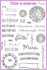 Tampons et matrices de coupe (dies) 4enSCRAP. Un set de tampons pour créer des invitations pour des mariages, des baptèmes ou pour se réunir en famille à l'occasion d'un anniversaire.