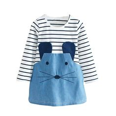 Cheap girl dress long sleeve, Buy Quality girl dress long directly from China girls dress Suppliers: New 2016 Striped Patchwork Character Girl Dresses Long Sleeve Cute Mouse Children Clothing Kids Girls Dress Denim Kids Clothes Cute Toddler Girl Clothes, Toddler Girl Outfits, Kids Outfits, Fashion Kids, Girl Fashion, Teenager Fashion, Fashion 2016, Dress Fashion, Cute Girl Dresses