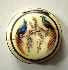 Antique Austrian Sterling Guilloche Compact STUNNING ORNATE PEACOCK ENAMEL