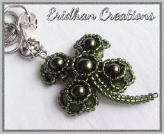 """Beaded pendant """"Four-Leaf Clover""""  seed beads size 11 seed beads size 15 4mm bicone crystals 6mm round beads 8mm round bead"""