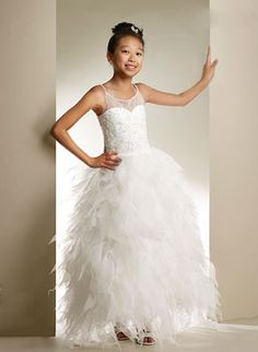 e5b68caf43d Macis Couture-Designer Girls Dress Style 1852- Spaghetti Strap Beaded Dress  with Organza Skirt