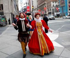 Sarah Lutz as Queen Elizabeth and Michael Sheldon as Shakespeare parading down Broad Street in Philadelphia, celebrating the Philadelphia International Festival of the Arts and its 2013 theme of Time Travel.