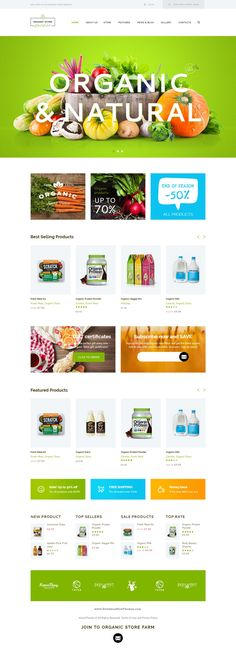 Organic store is a colorful design perfectly suitable for agrotourism, healthy organic food organic bakery – anything you want! Website Themes, Ui Website, Website Ideas, Template Site, Templates, Ecommerce Web Design, Ecommerce Template, Organic Food Shop, Food Web Design