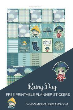 Free Printable Planner Stickers: Rainy Days via Mini Van Dreams: https://www.minivandreams.com/free-printable-planner-stickers-rainy-days/