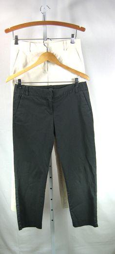 J CREW Lot of 2 Ivory Cotton Pant & Gray Cocktail Capri City Fit Pant Size 0 / 2 #JCrew #CasualPants