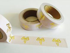 Pink and Gold Foil Bows Washi Tape by GoatGirlMH on Etsy
