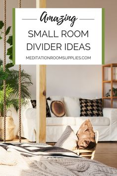 Amazing small room divider ideas.Are you struggling with your  small apartment , studio or just wished you could have an extra room in  your home? Learn how to use these room dividers so you can have that  extra space you deserve.    room dividers, meditation space in bedroom, yoga and meditation room,  home meditation space, sacred space ideas, meditation space small,  meditation room ideas diy #homedecor #meditation #decor Zen Room Decor, Meditation Room Decor, Meditation Corner, Meditation Cushion, Meditation Space, Meditation Retreat, Small Room Divider, Hanging Room Dividers, Divider Ideas