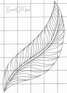 Gorgeous Free Motion Quilting Feather using S-Curves !Insights From SewCalGal: June FMQ Challenge, by Cindy Needham Machine Quilting Patterns, Quilting Templates, Longarm Quilting, Free Motion Quilting, Quilting Tutorials, Quilt Patterns, Quilting Stencils, Quilting Tips, Patchwork Quilt