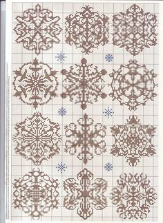 CROSS STITCH KNITTING PATTERN SNOWFLAKES