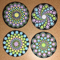 Items similar to Handmade Set of 4 Dot Mandala Fridge Magnets, Dotilism, Dot Painting, Dot Art on Etsy Mandala Painted Rocks, Mandala Rocks, Mandala Artwork, Mandala Painting, Dot Art Painting, Stone Painting, Mandala Pattern, Mandala Design, Stencil Patterns