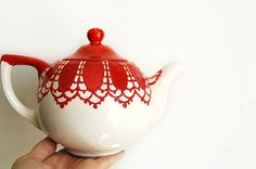 Red lace teapot  hand painted by Dprintsclayful on Etsy,