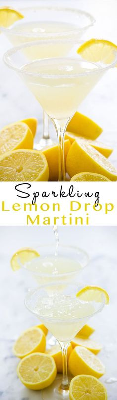 Sparkling Lemon Drop Martinis This Sparkling Lemon Drop Martini is much more than a shake and a stir! Fresh lemon juice, vodka and topped with sparkling water make this drink tart, sweet and easy to drink! Fancy Drinks, Summer Drinks, Cocktail Drinks, Cocktail Recipes, Simple Vodka Drinks, Prosecco Cocktails, Sangria, Lemon Drop Martini, Cocktail