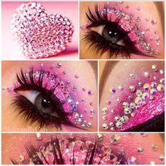 Hooded Eye Makeup – Great Make Up Ideas Exotic Makeup, Pink Makeup, Makeup Art, Beauty Makeup, Hair Makeup, Sparkly Makeup, Custom Eyeshadow Palette, Pink Eyeshadow, Gloss Eyeshadow