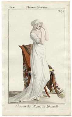 White morning gown with train, an10 Costume parisien