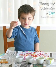 Try using watercolors on FELT for a super fun sensory art activity for kids! ~ BuggyandBuddy.com