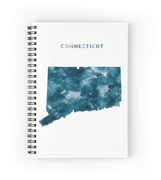 Connecticut   #connecticut #unitedstates #usa #state #map #art #print #spiral #notebook #stationery #gift #ideas #travel #abstract #minimalist #america #blue #watercolor #hartford #city #ct