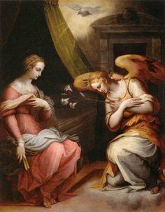 Giorgio Vasari - L'Annonciation (1564-1567), bois, 216 × 166 cm, Musée du Louvre, Paris. Élément central du triptyque peint pour le maître autel de l'église de Santa Maria Novella d'Arezzo.