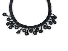 Black crochet bead necklace  Fiber Crochet Flower by Nakkashe, $20.00