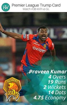 Praveen Kumar bowled brilliantly against the mighty Kolkata Knight Riders and not only picked up wickets but was economical as well. He's our Trump Card Player for #KKRvGL. #IPL #IPL2016 #cricket