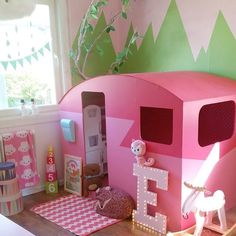 some pink paint and voila green mountains and a pink sky.and we all know a pink sky is perfect camping weather. Festa Baby Alive, Toy Rooms, Little Girl Rooms, Girls Bedroom, Room Girls, Kid Spaces, Kids Decor, Play Houses, Kids Furniture
