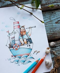 712 Likes 18 Comments Natasha Doodle Art Drawing, Pencil Art Drawings, Cute Drawings, Art Sketches, Sailor Illustration, Watercolor Illustration, Watercolor Art, Bullet Journal Cover Ideas, Cute Paintings