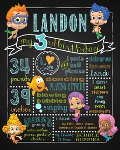 Bubble Guppies Poster Birthday Party by SweetBeeTeaBoutique