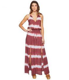 Culture Phit Emmalee Tie-Dye Maxi Dress with Slit (Blue/Mauve) Women's Dress